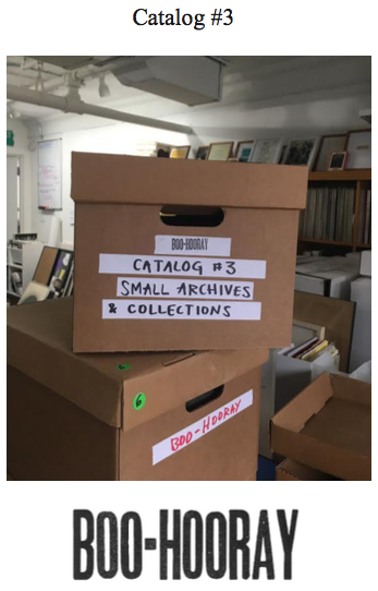 Boo-Hooray Catalog #3: Small Archives and Collections