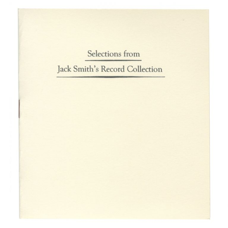 SELECTIONS FROM JACK SMITH'S RECORD COLLECTION. BOO-HOORAY/Jack Smith.