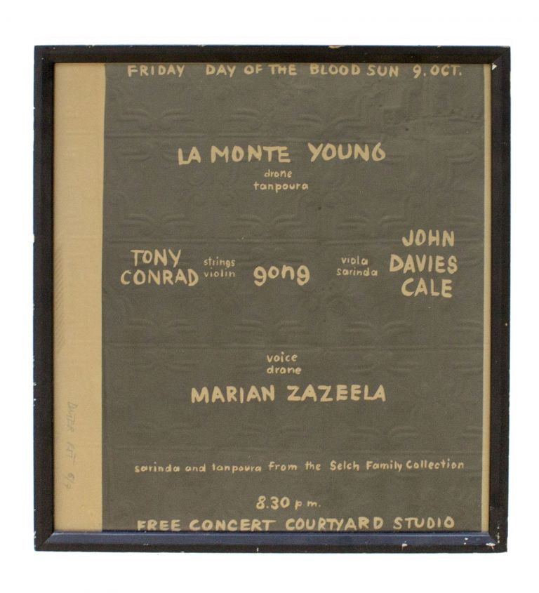 La Monte Young, Tony Conrad, Marian Zazeela, John Cale. Signed and Numbered Lithographed Poster for the 1964 Performance by the Theater of Eternal Music / Dream Syndicate. Dieter Roth.
