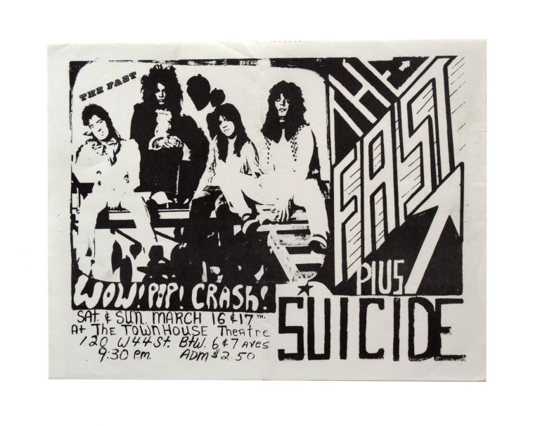 Flyer for a 1974 Show at The Townhouse Theatre. Suicide.