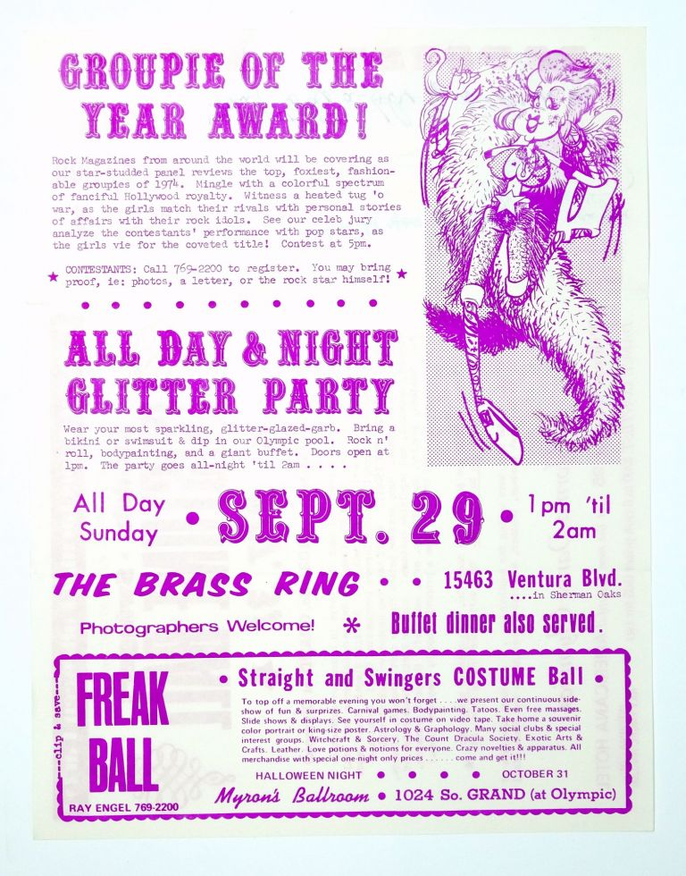 Groupie of The Year Award, All Day & Night Glitter Party, Straight and Swingers Costume Ball with ticket