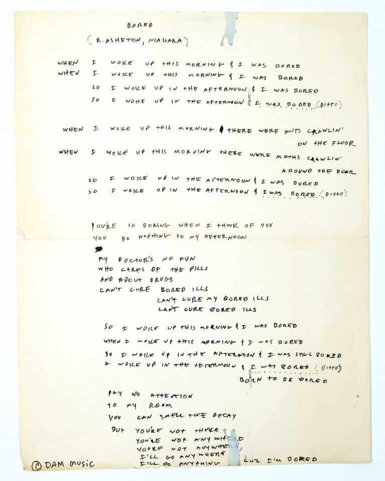 """Bored"" Destroy All Monsters Handwritten Lyrics. R. Asheton, Niagara."