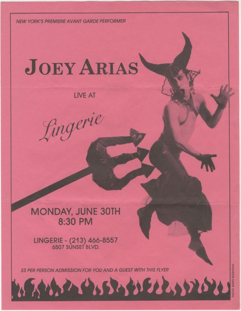 Joey Arias Live at Lingerie Flyer