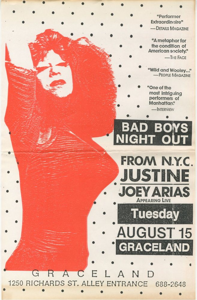 Bad Boys Night Out: Justine / Joey Arias Appearing Live at Graceland, August 15, 1989