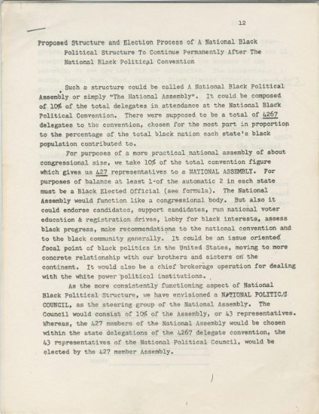 "Working Draft for ""Proposed Structure and Election Process of A National Black Political Structure to Continue Permanently After the National Black Political Convention"". Amiri Baraka."