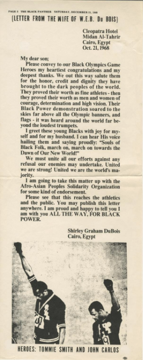 """""""Letter From The Wife of W.E.B. Du Bois"""" in praise of John Carlos and Tommie Smith"""