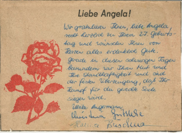 East German Youth Organization Letter in Solidarity with Angela Davis