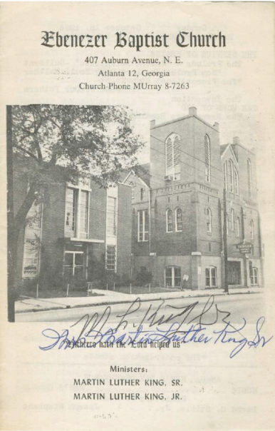 [Signed by MLK Jr. & Sr.] Ebenezer Baptist Church Program, from the week of Nobel Peace Prize Award
