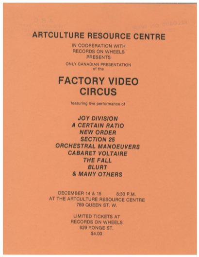 Factory Records. Factory Video Circus. [ticket for Canadian screening]