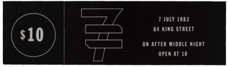 Concert ticket for New Order at Paradise Garage. Lawrence Weiner.