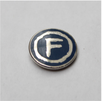 """Factory """"F"""" pin. FAC 2.28. Factory Too."""