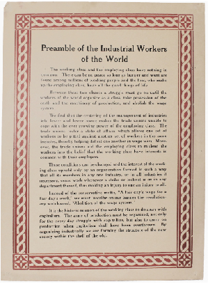Preamble of the Industrial Workers of the World. Industrial Workers of the World.
