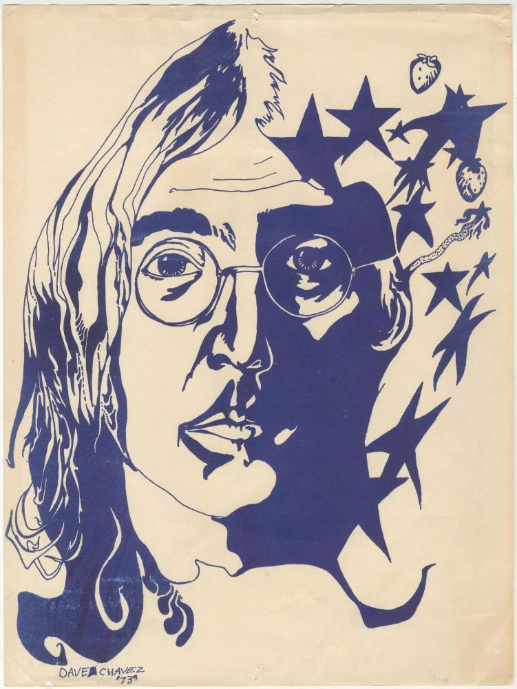 """[John Lennon Fan Art from Mexico] Hand-Illustrated Record Sleeve and Imagine 7"""" & Printed Portrait. Dave Chavez."""