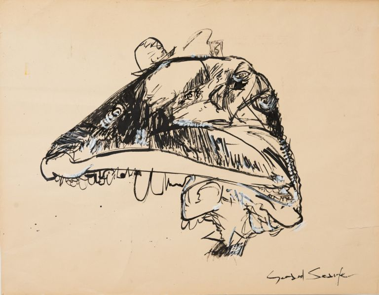 Study for Artwork from Pink Floyd's The Wall [Signed]. Gerald Scarfe.