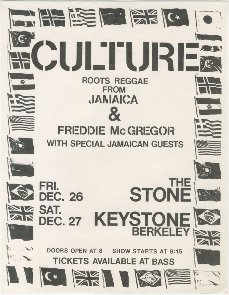 Culture and Freddie McGregor at The Stone and Keystone Berkeley. Culture, Freddie McGregor.