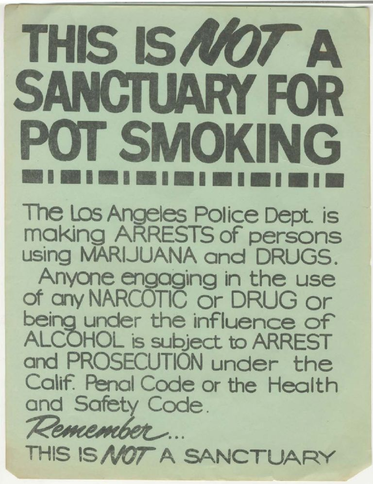 This Is NOT a Sanctuary for Pot Smoking