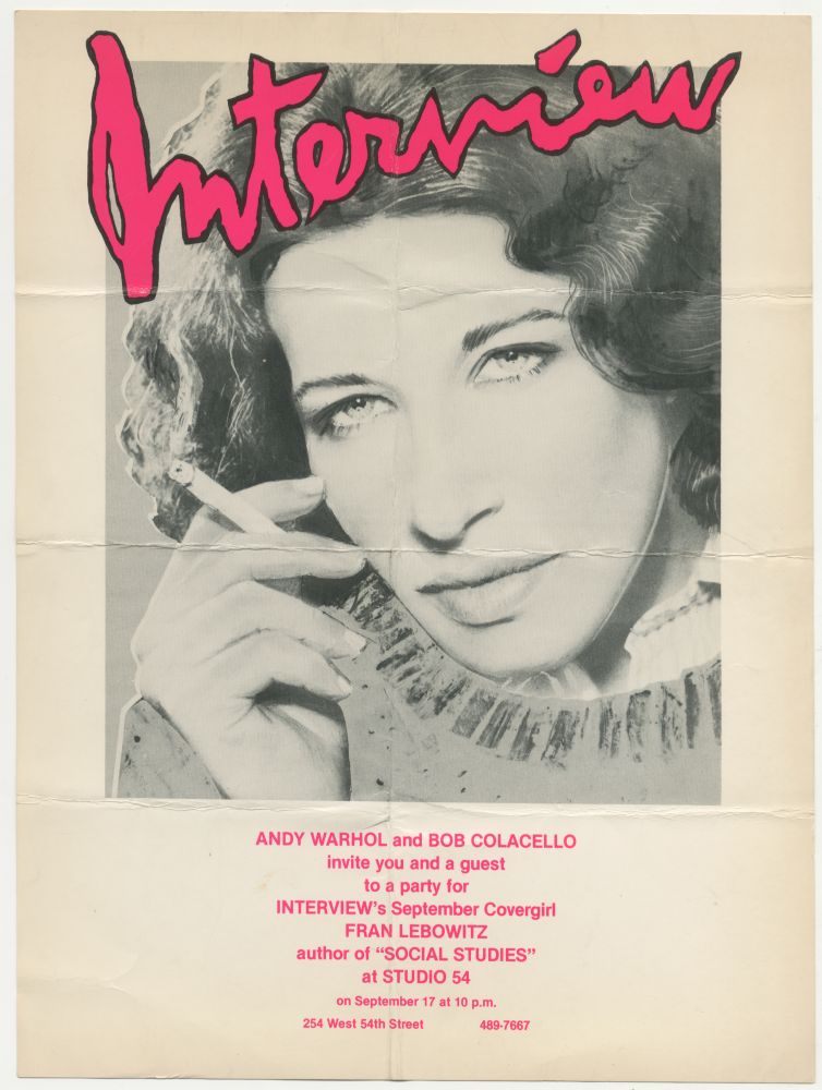 Interview's September Covergirl at Studio 54. Fran Lebowitz Andy Warhol.