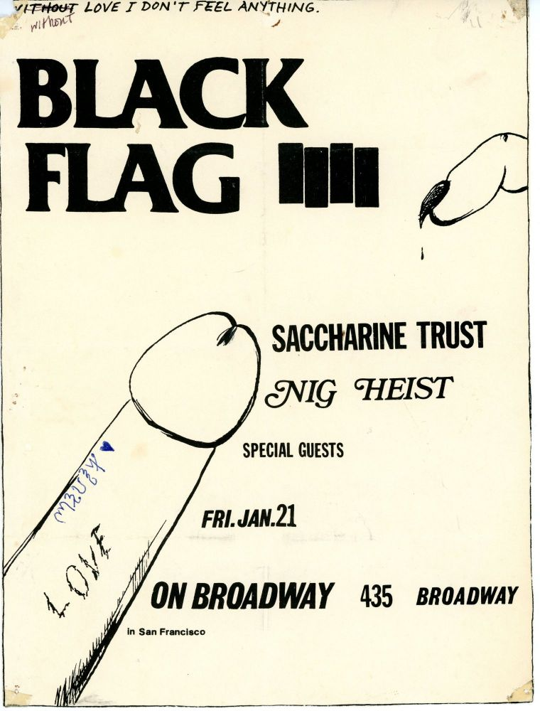 Black Flag with Saccharine Trust, Nig Heist, and Special Guests at 435 Broadway. Raymond Pettibon.