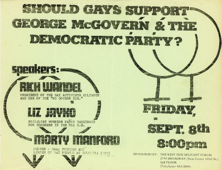 Should Gays Support George McGovern & the Democratic Party?