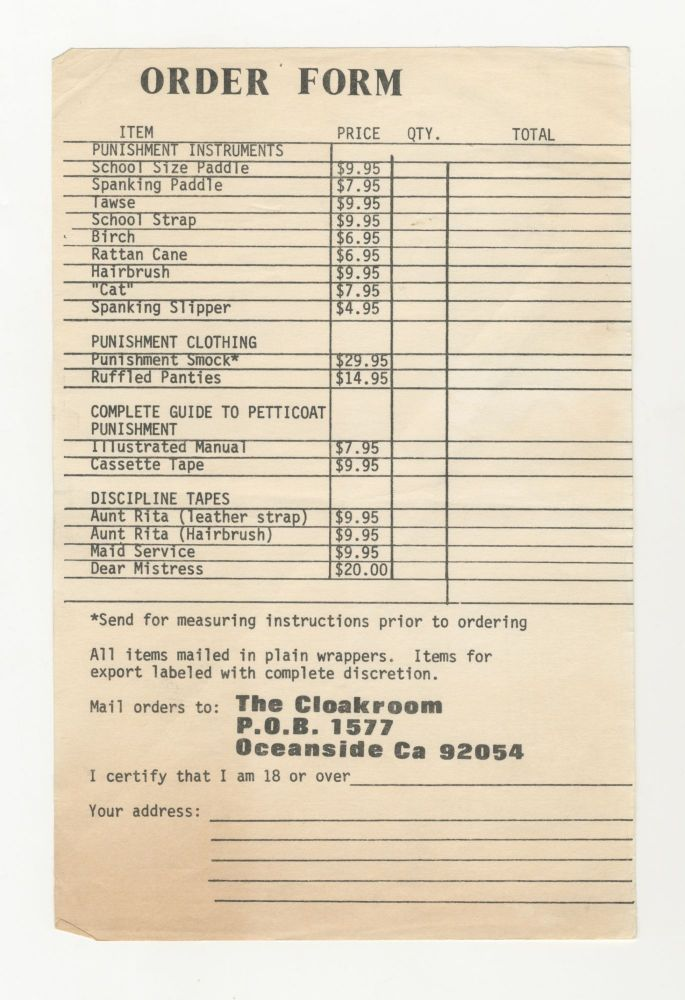 The Cloakroom Order Form
