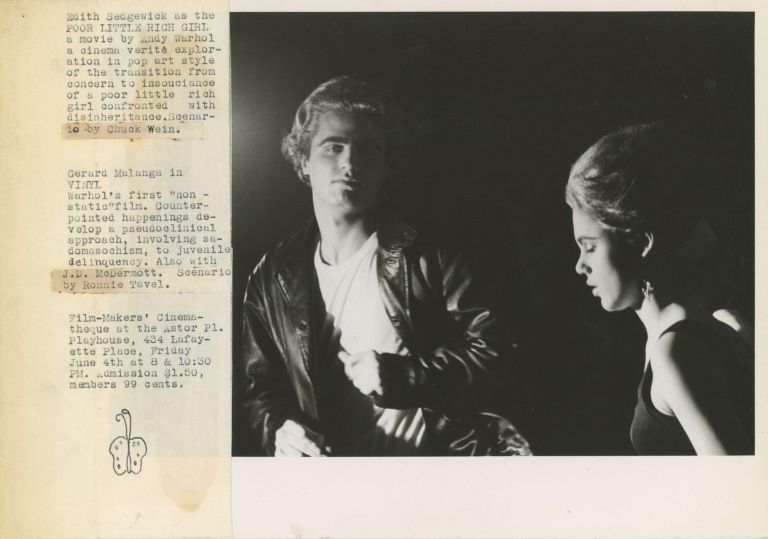 [Original Paste-Up with Butterfly Holograph] Edith Sedgwick as the Poor Little Rich Girl... Gerard Malanga in Vinyl