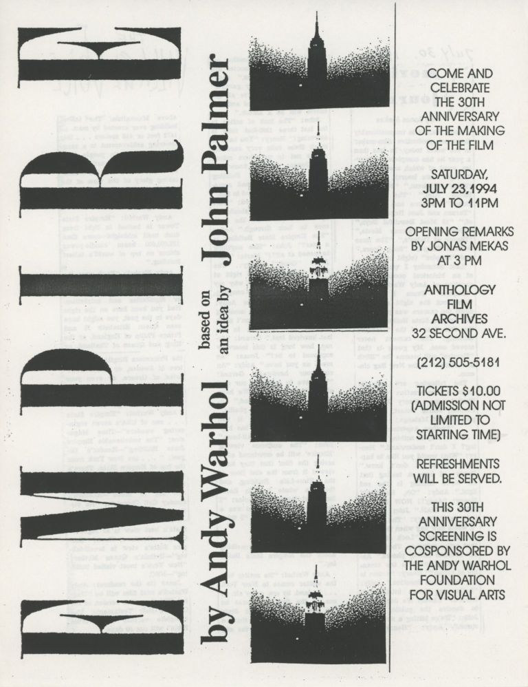 Empire by Andy Warhol 30th Anniversary Screening at Anthology Film Archives Flyer