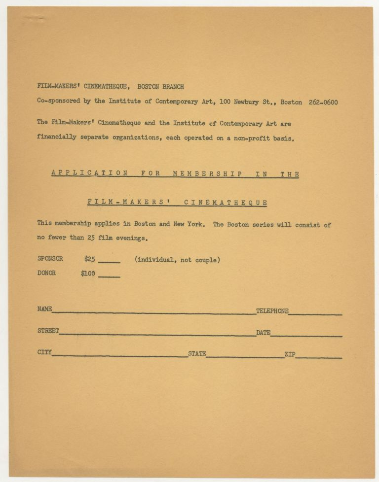 Application for Membership in the Film-Makers' Cinematheque