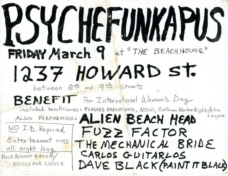 [International Women's Day Benefit, Rock Against Racism] Psychefunkapus at The Beach House