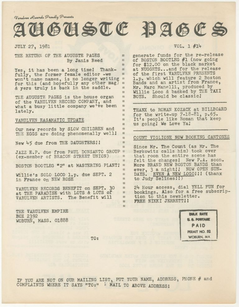 The Auguste Pages, Vol. 1, No. 14 (July 27, 1981). ed Janis Reed.