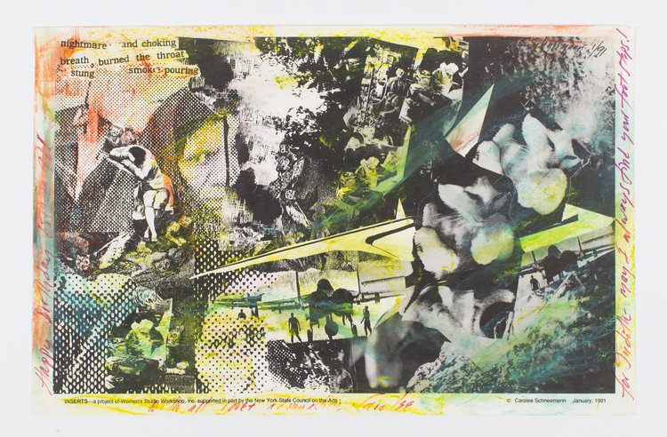 Handcolored Collage for Judith Malina. Carolee Schneeman.