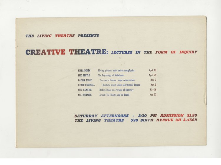 Creative Theatre: Lectures by Maya Deren, Parker Tyler, M.C. Richards, Eric Bently, Eric Hawkins, and Joseph Campbell