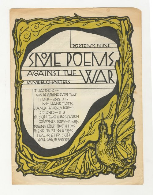 Portents no. 9: Some Poems Against the War. Samuel Charters.