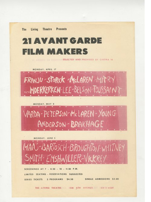 21 Avant Garde Film Makers. Living Theatre.