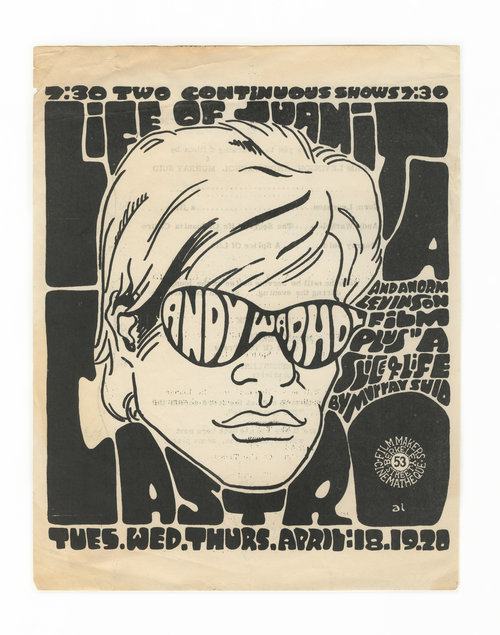 Films by Andy Warhol, Norm Livinson, Murray Sid. Filmmaker's Cinematheque.