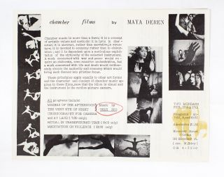 Chamber Films by Maya Deren. Bleeker Street Cinema.