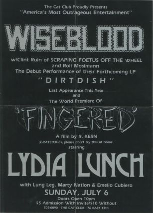 Richard Kern, Lydia Lunch] Wiseblood and the World Premiere of Fingered