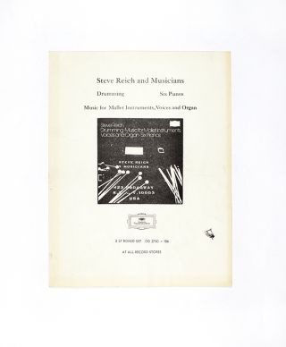 Steve Reich and Musicians Flyer. Steve Reich