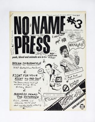 No Name Press #3 1986 Punk Hardcore Zine Paul Sommerstein Bad Brains New Jersey. ed Paul Sommerstein
