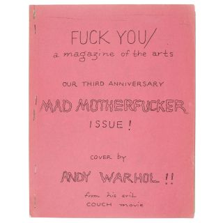[Andy Warhol]. Fuck You: A Magazine of the Arts Vol. 5, No. 8