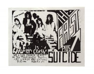 Flyer for a 1974 Show at The Townhouse Theatre. Suicide