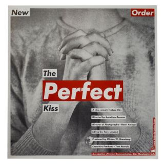 Poster for New Order's The Perfect Kiss Movie, 1985. Barbara Kruger