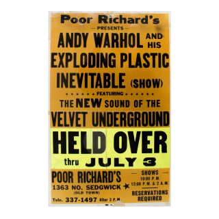 Poor Richard's Presents Andy Warhol and His Exploding Plastic Inevitable. Andy Warhol