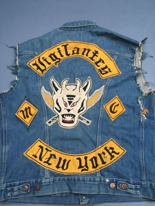 [Outlaw Motorcycle Vest, Judaism} Vigilante MC, President, Jew.