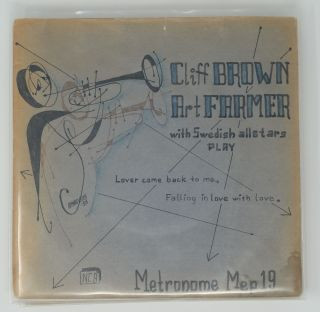 """Set of nine 7"""" records with original hand drawn covers by an unknown artist"""