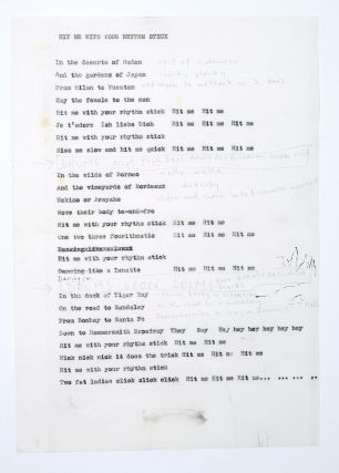 """Hit Me With Your Rhythm Stick"" lyric sheet with notes. Ian Dury"