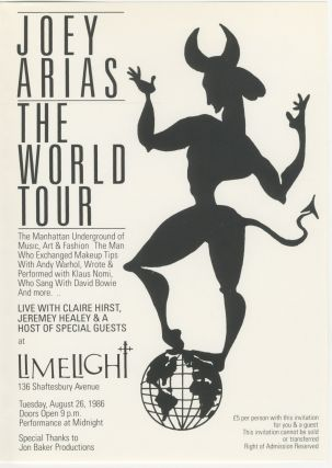 Limelight Presents Joey Arias - The World Tour fold-out flyer
