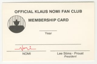 Klaus Nomi Fan Club Membership Card