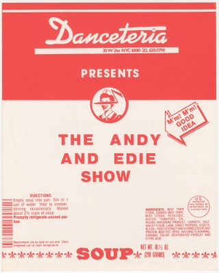 The Andy and Edie Show: They're Back Again! Danceteria Handbill