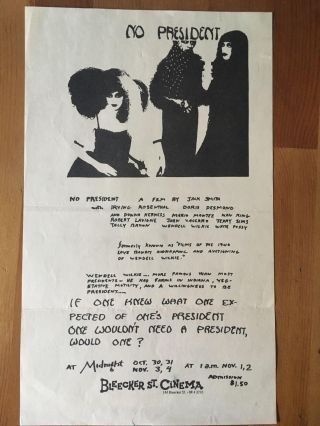 No President at Bleeker St Cinema Flyer. Jack Smith