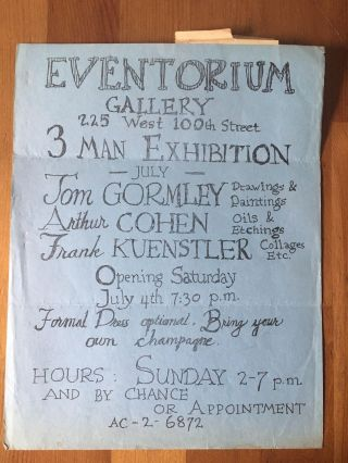 Eventorium Gallery 3 Man Exhibition: Tom Gormley, Arthur Cohen, & Frank Kuenstler